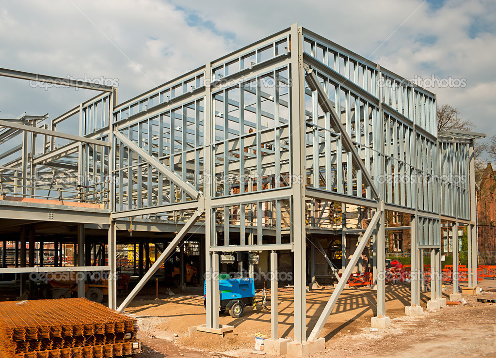The skeleton frame of a Steel framed building showing the vertical steel columns and horizontal I beams on a new Commercial property Office development.